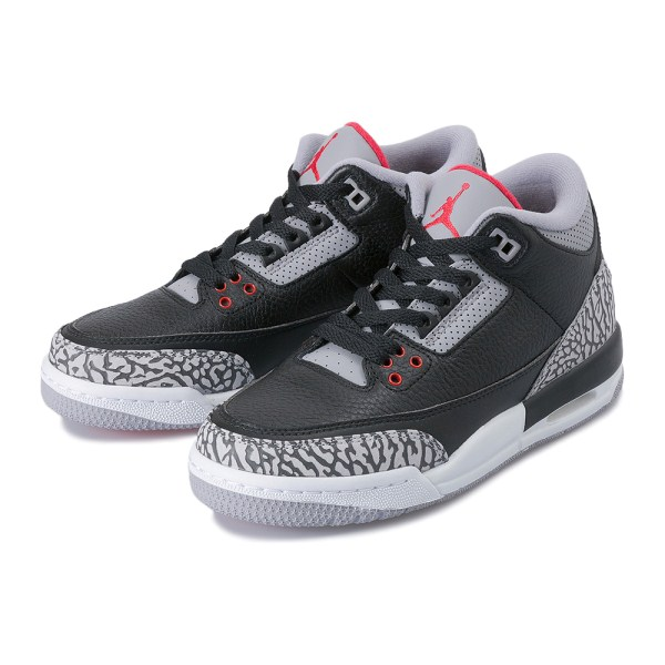 ジュニア 【NIKE】 225-25AIR JORDAN 3 RETRO OG BG エア ジョーダン 3 レトロ OG BG 854261-001 001BK/FIRE RED