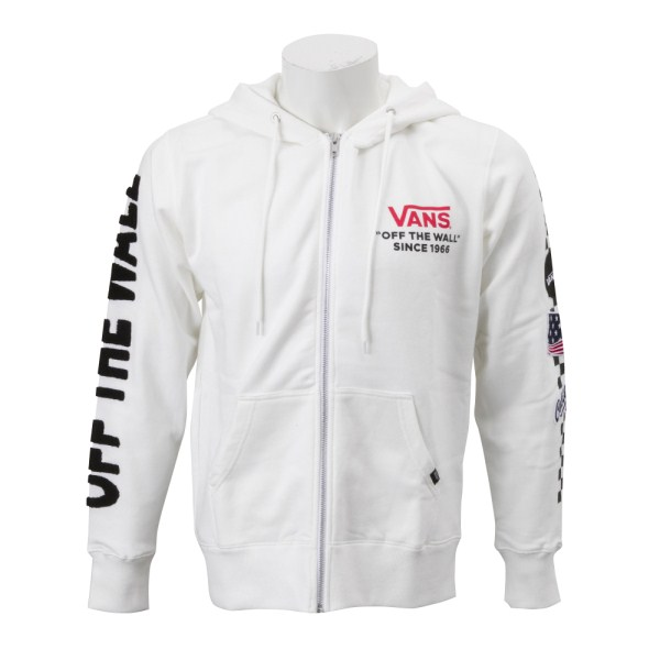 【VANSウェア】Chenille&Emb Patch ZIP UP HOOD ヴァンズ フーディー・パーカー CD18FW-MC15 WHITE