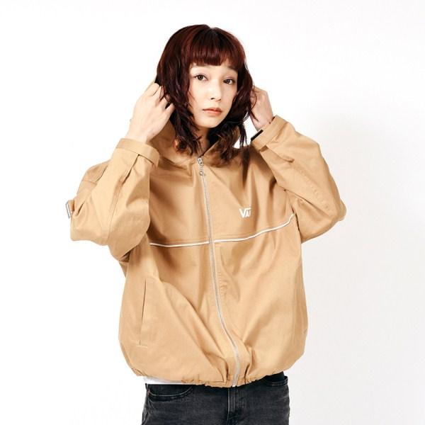 【VANSウェア】Big Logo Girls Hoodie Jacket ヴァンズ ジャケット VA19SS-GJ01 19SP BEIGE