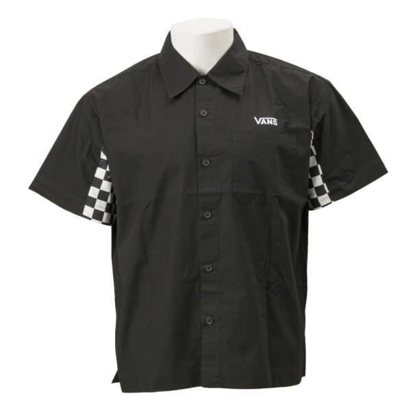 【VANSウェア】Checker Sleeve S/S Shirt ヴァンズ ショートスリーブTシャツ VA19SS-MS02 BLACK