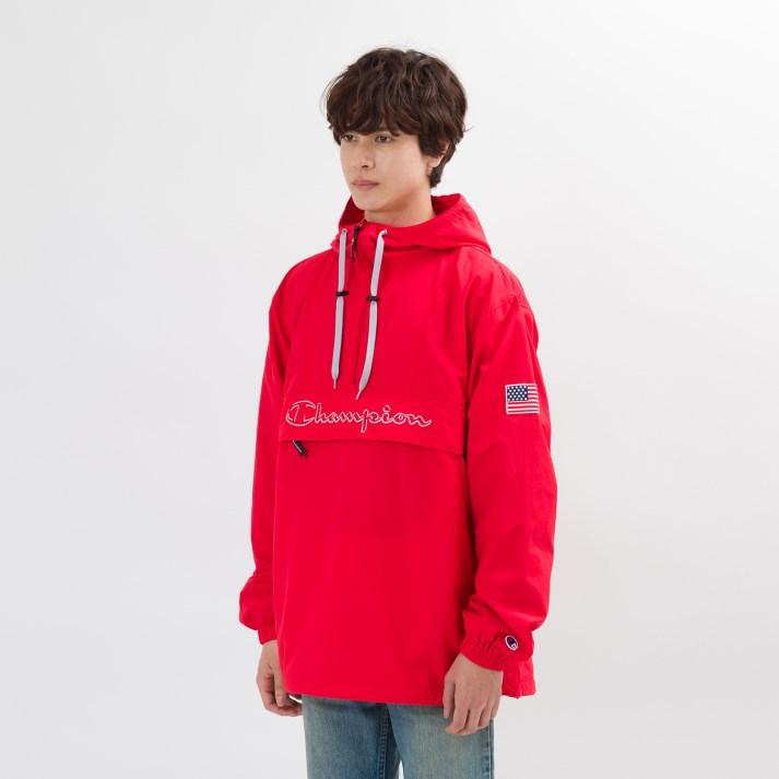 【CHAMPION】 チャンピオン M アノラックパーカーUSA(メッシュ) C3-L609 スカーレット