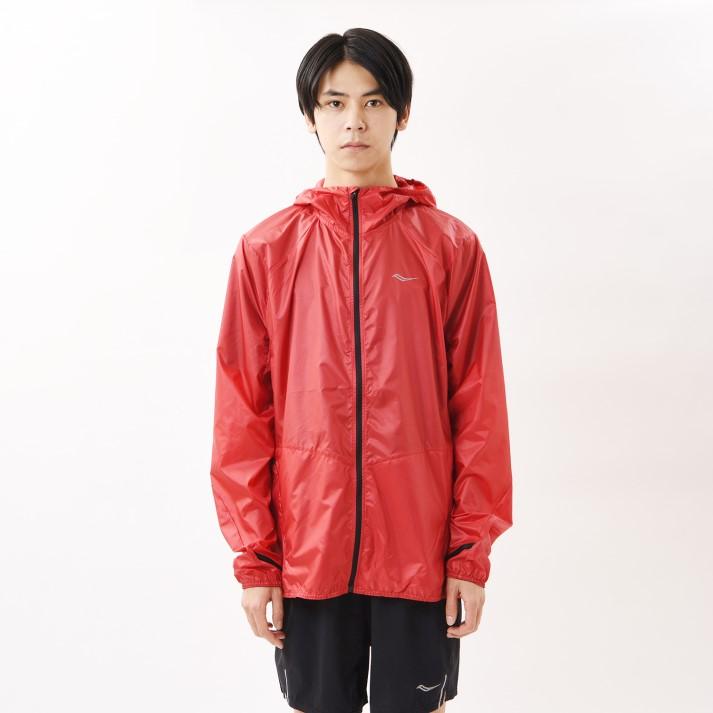 【SAUCONYアパレル】 サッカニー M PACKAWAY JACKET ランニングジャケット SAM800194-RED SAUCONY RED