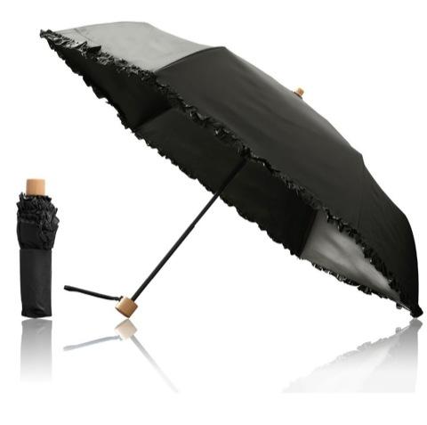 Ombrage 完全遮光 100% 日傘 ショートパラソル 親骨50cm UVカット UPF50+ 紫外線対策 遮熱加工 梅雨 ゲリラ豪雨 夕立 高強度 水をはじく テフロン加工 超撥水カラー:折り畳み傘/ブラック