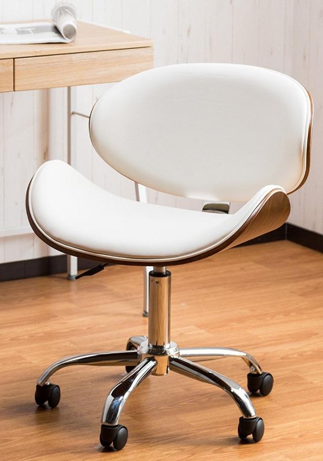 オレンジスライスチェア ピエール ポーリン風 オフィスチェア 【安定してしっかり座れる 包み込む曲線美オフィスチェアー】高級感ある木目とレザーの融合 快適な座り心地 触り心地良いPUレザー仕様 (ホワイト色)
