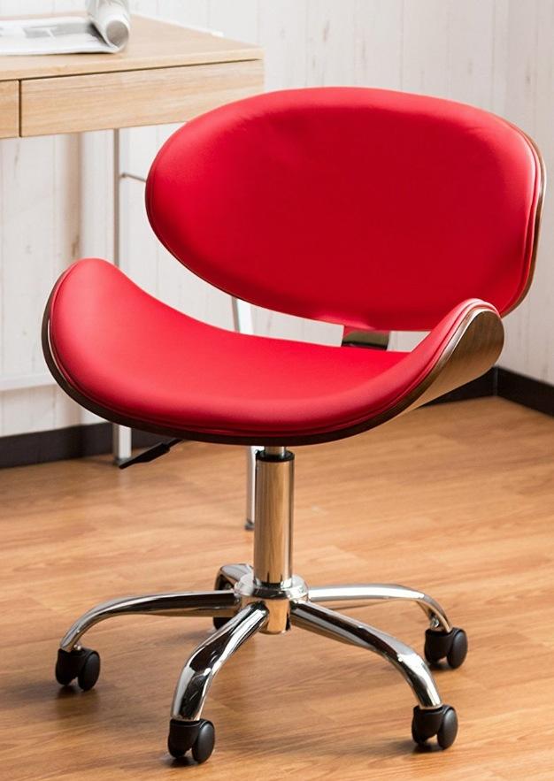 オレンジスライスチェア ピエール ポーリン風 オフィスチェア 【安定してしっかり座れる 包み込む曲線美オフィスチェアー】高級感ある木目とレザーの融合 快適な座り心地 触り心地良いPUレザー仕様 (レッド色)
