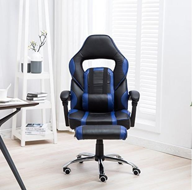 MCTECH ワークチェア オフィスチェア リクライニング機能 調節可能 収納式オットマン クッション付き オシャレ 最大170度 ブルー