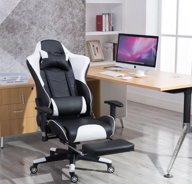MCTECH ゲーミングチェア オフィスチェア ゲームチェア レーサーチェア ワークチェア キャスター付き椅子 レーシングスポーツシート ヘッドレスト 足置き付き 事務椅子 ホワイト