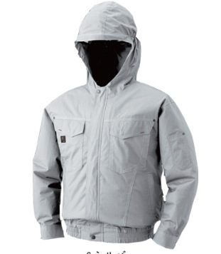 空調服 フード付綿薄手長袖ブルゾンタイプ 色:シルバー サイズ:XL ファン付き 電池ボックス フルセット M-500F 作業服 扇風機付き作業服 あす楽対応