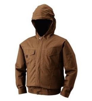 空調服 フード付綿薄手長袖ブルゾンタイプ 色;キャメル サイズLL ファン付き 電池ボックス フルセット M-500F 作業服 扇風機付き作業服 あす楽対応