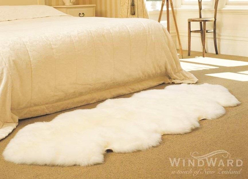 シープスキン製ムートンラグ 180×110cm アイボリー ブラウン 2匹 windward ムートン ラグ カーペット ソファーカバー シープスキン 羊毛
