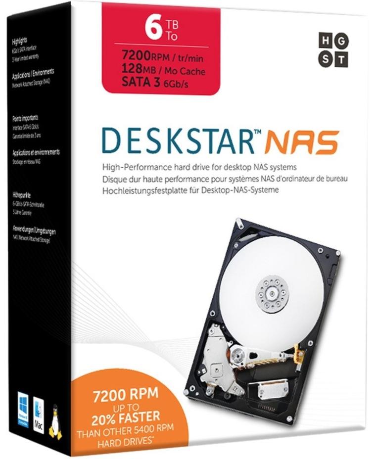 HGST Deskstar NAS 6TB パッケージ版 3.5インチ 7,200rpm 128MB SATA 6Gb/s 3年保証HDD 0S04007