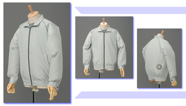 ☆即納可能 空調服 XL サックス ブルゾン P-500Bフルセット【服の中に涼しい風を送ります 空調スーツ】XL着丈70袖丈93胸囲140裾廻り92cm