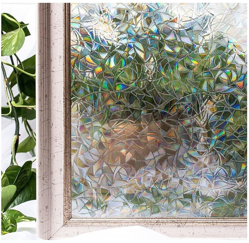 貼るだけで モザイクガラス ステンドグラス 擦りガラス 磨りガラス 目隠し CottonColors(コットンカラーズ) 3D 窓用フィルム 目隠しフィルム 断熱シート 紫外線カット 粘着剤なし 再利用可能 90x200cm プライバシーガラスフィルム  [夢の間018]