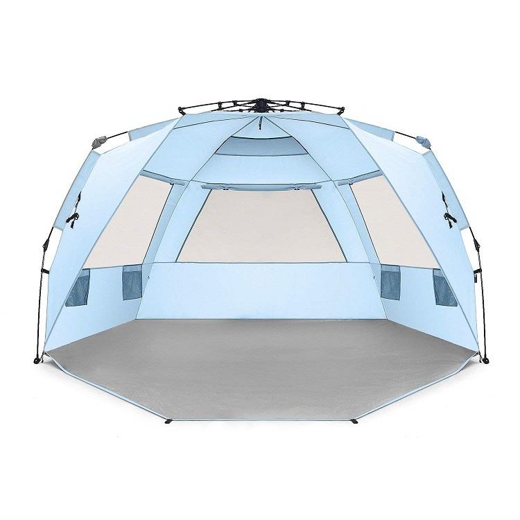 デラックス版 ワンタッチ テント 特大 ビーチテント 軽量 フルークローズ 設営簡単 UVカット Easthills Outdoors (イーストヒルズ) サンシェード 4人用 特大 色:ブルー
