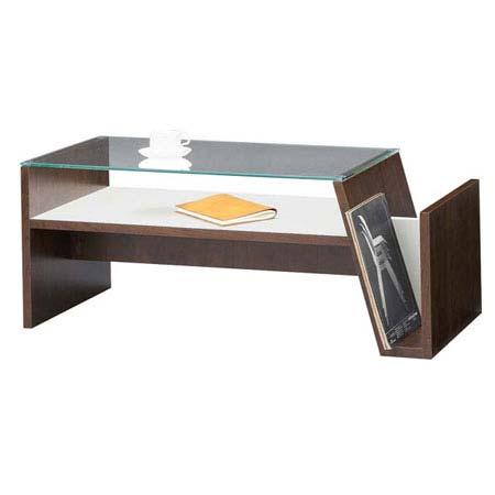 MOC-01 BR ブラウン センターテーブル MOKA モカ リビングテーブル ローテーブル ソファーテーブル 90cm幅 ガラステーブル マガジンラック付き リモコン収納 東谷 アズマヤ ROOM ESSENCE ルームエッセンス