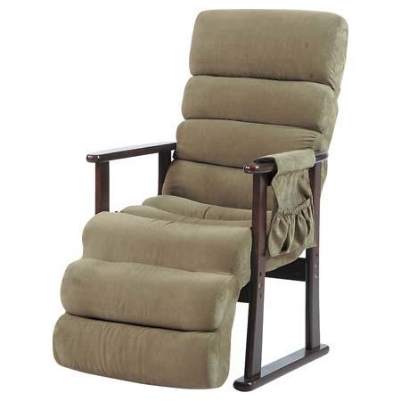 RKC-70 GR グリーン オットマン付きリクライナー 布張り ファブリック 座椅子 肘付き コタツ リクライニング 敬老の日 父の日 母の日 プレゼント 東谷 アズマヤ ROOM ESSENCE ルームエッセンス