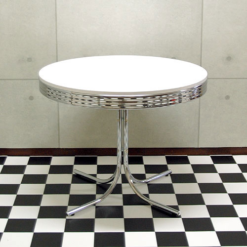 T-グロス 丸型ダイニングテーブル 50'S アメリカン レトロ WH/RD 円形テーブル ホワイト レッド【RT】 【送料無料】【※テーブル単品】【当店オリジナル】(galto-100218-004)