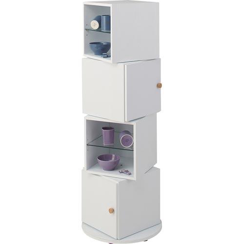 NWS-602 WH WAL ホワイト ウォールナット スピン ラック 収納 棚 モダン 4段 棚 収納 ラック 本棚 ブックシェルフ キャビネット 飾り棚 アンティーク風 洋風 東谷 アズマヤ ROOM ESSENCE ルームエッセンス
