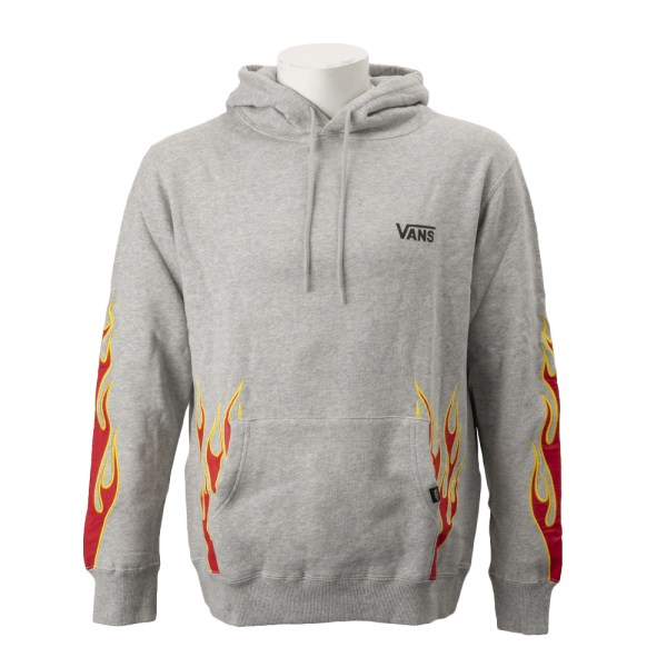 【VANSウェア】Flame Emb. Pull Over Hoodie ヴァンズ フーディー・パーカー VA19SS-MC02 19SP H-GRAY