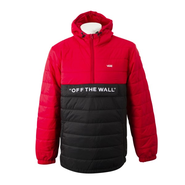 【VANSウェア】CARLON ANORAK PUFFER ヴァンズ パフジャケット VN0A45B1YHU RACING RED-BLAC