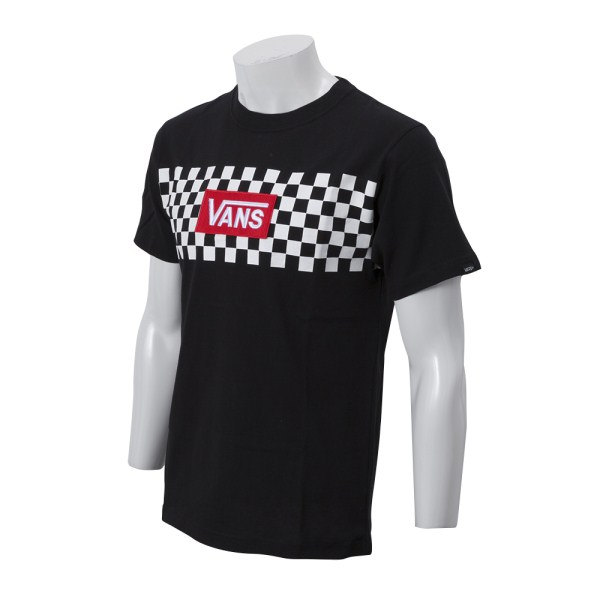 【VANSウェア】Checker S/S Tee WHITE ヴァンズ Tシャツ CD18FW-MT02 18FA BLACK