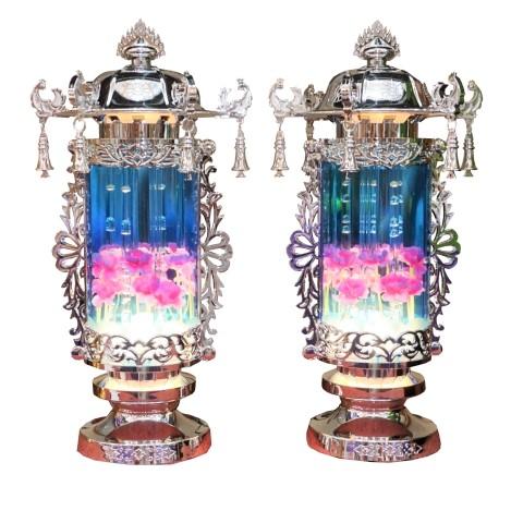 霊前灯です 青に光泡が出ます 業界No.1 盆提灯 初売り 霊前灯 高さ27cm 置き型 包装のし無料 送料無料 盆ちょうちん
