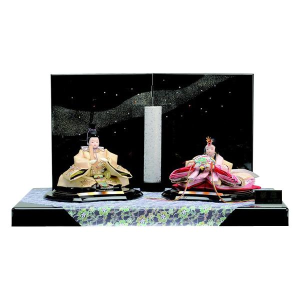毛せんの代わりに 豪華な布で雛を飾る江戸時代の様式を現代風にアレンジしました 銀河をイメージさせる屏風もきれいです 東玉 親王飾り 華銀河 7001 レビューを書けば送料当店負担 かわいい コンパクト 送料無料 購入特典あり ランキング総合1位 幅60c 最短即日出荷