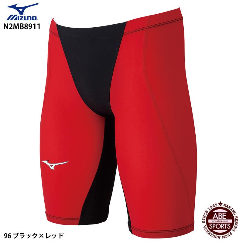 【ミズノ】MX・SONIC G3 ハーフスパッツ ジュニア男子/競泳水着/高速水着/水着 ミズノ/MIZUNO (N2MB8911) 96 ブラック×レッド
