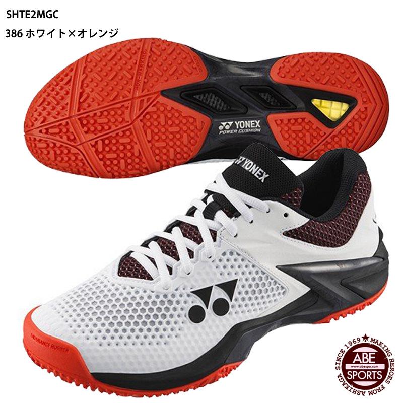 【ヨネックス】POWER CUSHION ECLIPSION2 M GC オムニ・クレーコート用/パワークッション/テニスシューズ/YONEX (SHTE2MGC)386 ホワイト×オレンジ