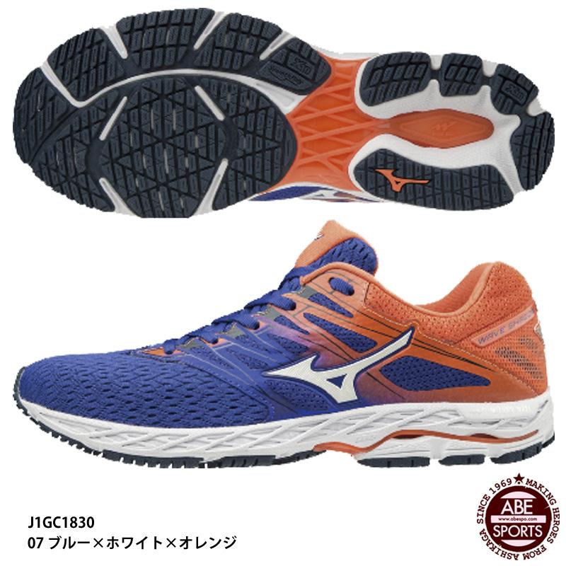 【ミズノ】WAVE SHADOW2 メンズシューズ/ウェーブシャドウ/マラソンシューズ/ランニングシューズ/MIZUNO (J1GC1830) 07 ブルー×ホワイト×オレンジ