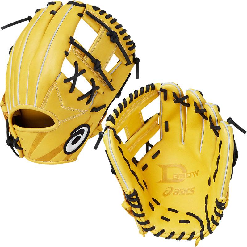 【アシックス】 D-GROW ディーグロウ 内野手用 軟式グラブ/BASEBALL/asics (3121A212) 203 B.ゴールド×ブラック
