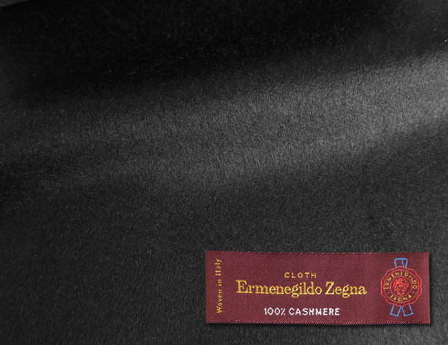 オーダーメイドコート [生地の銘柄] Ermenegildo Zegna [色] ブラック(黒) [柄] 無地 [品質] カシミア100% , 360gr. woven in Italy. [秋冬向け][送料無料]