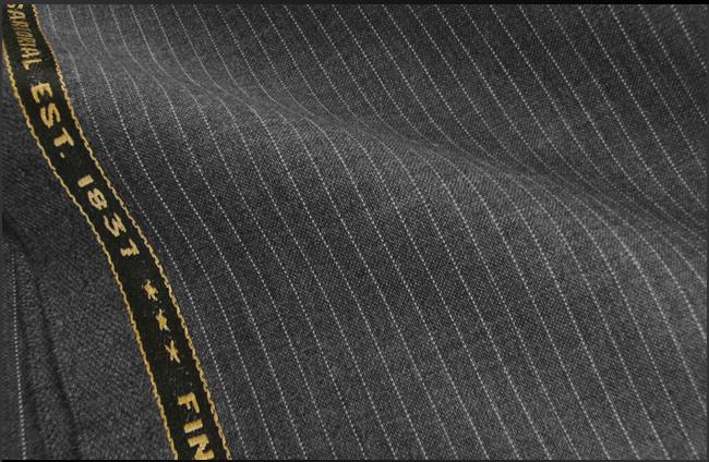 オーダースーツ [ブランド] ABRAHAM MOON / アブラハムムーン [色] グレー[柄] 白のストライプ [品質] ウール100% , woven in England [ブランド][春夏向け][送料無料]