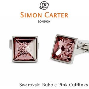 カフリンクス スワロフスキー バブル 泡Simon Carter Swarovski Bubble Cufflinksピンク 真鍮 カフス7y6bfg