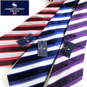 メール便可 スーツスタイルを華やかに ビジネス パーティーに使いやすい Cambridge University Club パープル 大人気 レジメンタルストライプ柄シルクネクタイ Polo 商品 ブルー 色:レッド