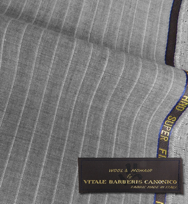 オーダースーツ [ブランド] CANONICO カノニコ [色] ライトグレー(明グレー) [柄] 白のストライプ [品質] ウール80%,モヘア20%,woven in Italy [イタリア生地][春夏向け][送料無料]