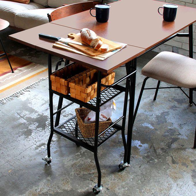 キッチン ワゴン ラック 片 バタフライ コンパクト 収納 サイド テーブル キャスター 移動 ウォルナット ウォールナット スチール ブラック アイアン ミッドセンチュリー 西海岸 男前インテリアテイスト シンプル インダストリアル カフェ/