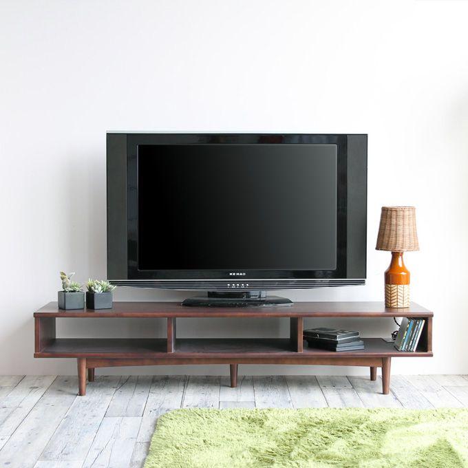 テレビボード テレビ台 ローボード リビングボード ローテーブル オープン棚 天然木 木製 シンプル 一人暮らし 収納棚 ウォールナット材 ブラウン家具 幅150cm 高さ32cm AV機器 収納 クラシカル ノスタルジック インテリア/