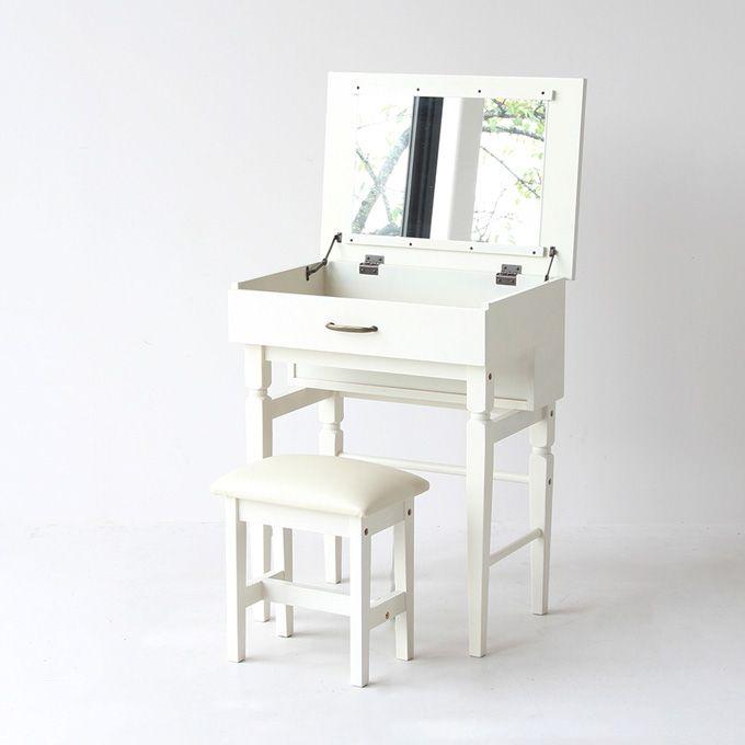 ドレッサー スツールセット スツール付き 鏡台 ライティングデスク デスク 化粧台 一人暮らし ミラー 鏡 ホワイト家具 白家具 シック クラシカル アンティーク 簡易デスク コンパクト 収納/