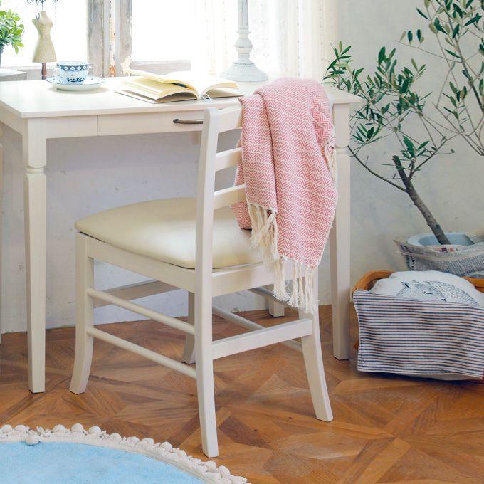 デスクチェア ホワイト 白家具 シンプル コンパクト 天然木 イス 椅子 可愛い ナチュラル アンティーク風 ダイニングチェア クラシカル 木製椅子 インテリア エレガント/
