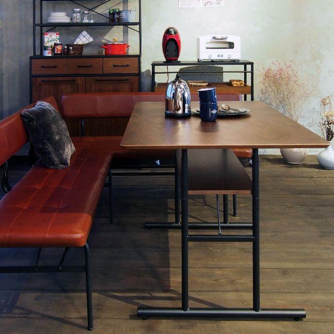 ダイニングテーブル 食卓 ウォールナット材 天然木 スチール アイアン ブラック 幅120cm 机 デスク 作業台 収納棚付き インダストリアル ブルックリンスタイル 高さ調節可能/