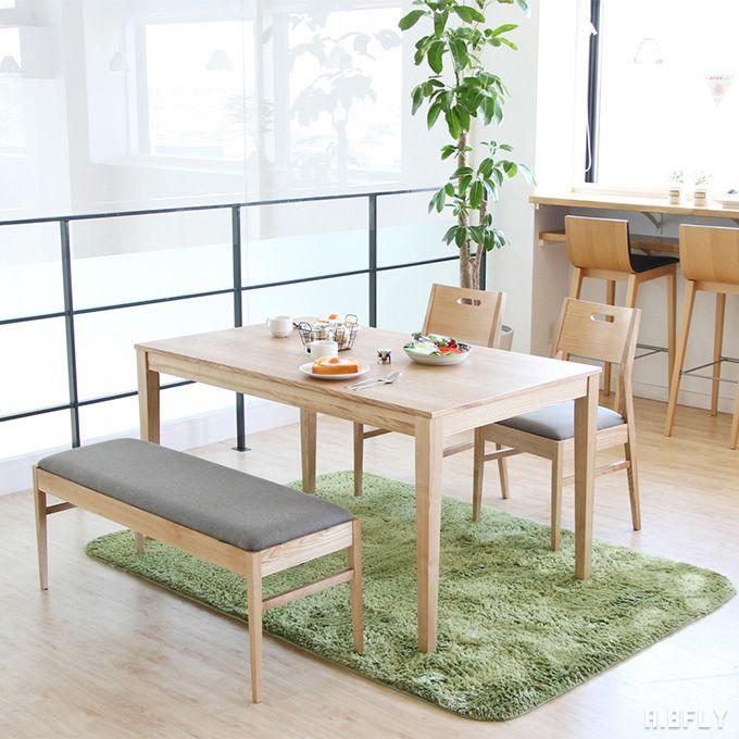 ダイニング セット 4点 チェア テーブル ベンチ 椅子 木目 木製 天然木 ナチュラル ブラウン 4人 四人掛け 食卓 カフェ シンプル ウッド おしゃれ 新生活 和 テイスト シック モダン アジアン 使いやすさ 天然木 アッシュ材/