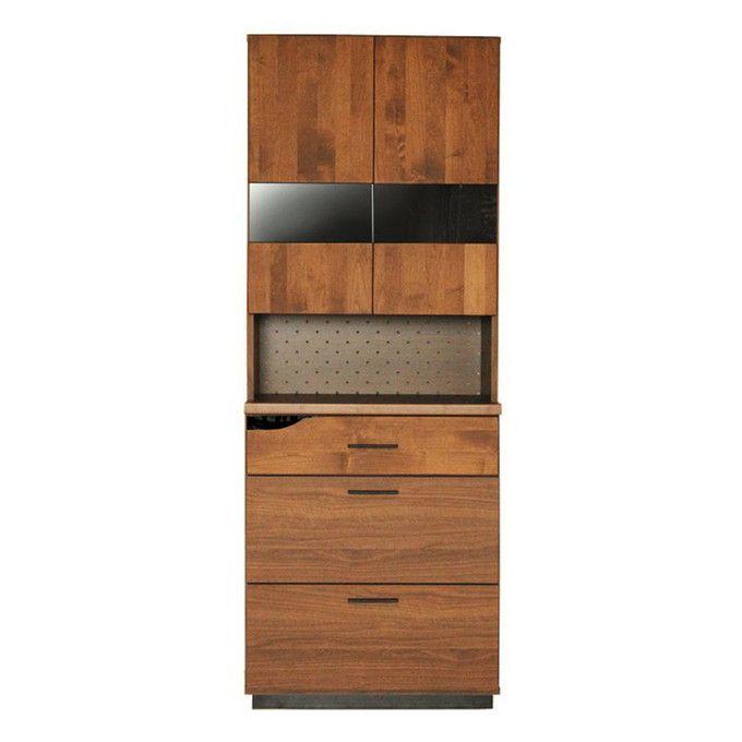 食器棚 キッチンボード 幅70 スリム 完成品 キッチン収納 キッチンラック 食器収納 ダイニングボード カップボード 70 引き出し ガラス 北欧 木製 ブラウン レンジボード レンジ台収納 シンプル ナチュラル//