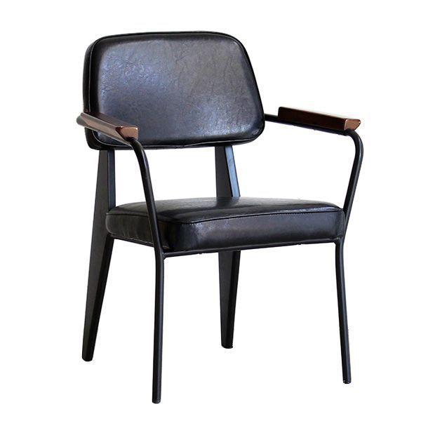 インダストリアル1Pダイニングチェアー ソファ 食卓椅子 一人掛けイス レザー調 黒スチール 男前インテリア 肘置き付き ヴィンテージ加工 天然木 合成皮革 クッション アメリカン