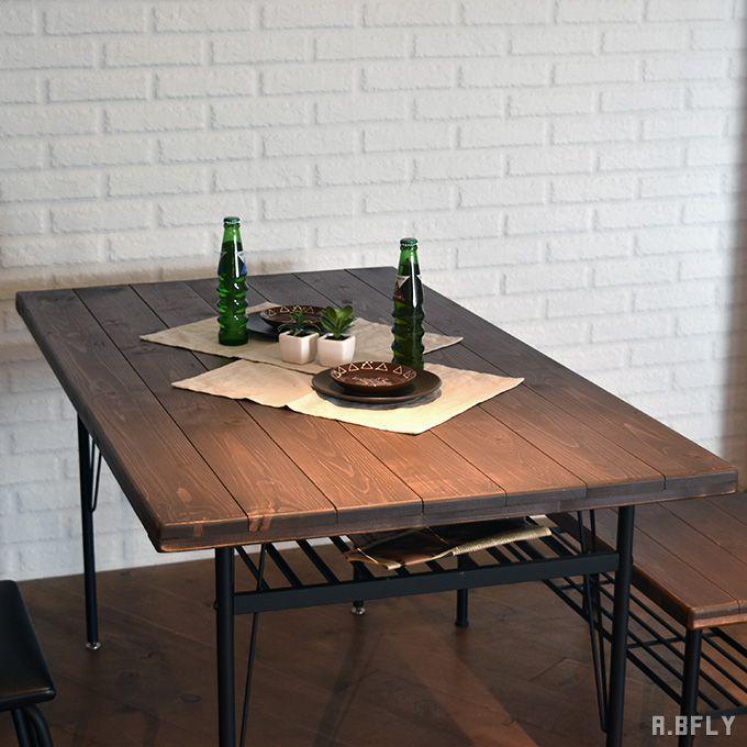 ダイニングテーブル 棚付き 北欧風 パイン無垢材 古木 オイル仕上げ センターテーブル カフェテーブル アイアン スチール アンティーク シンプルモダン レトロ 食卓テーブル 作業台 インダストリアル ホワイト シャビー