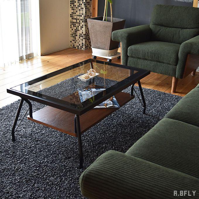 センターテーブル ローテーブル リビングテーブル ガラステーブル ソファテーブル アジャスター 北欧 西海岸 ブルックリン オシャレ ウォールナット 幅90cm 強化ガラス 収納棚 収納スペース付 シンプル