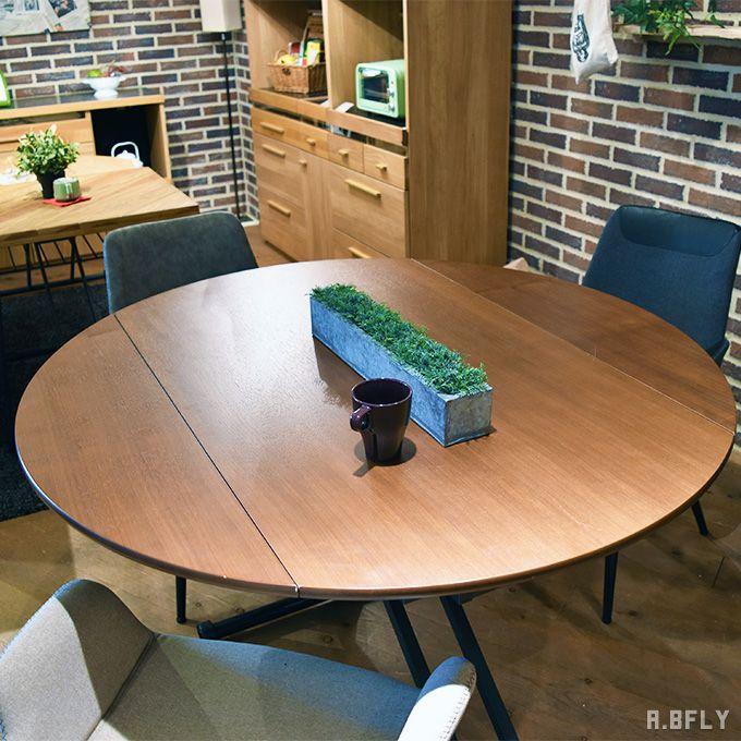 センターテーブル ローテーブル リビングテーブル ダイニングテーブル テーブル リフトテーブル リフトデスク バタフライ 円形 丸型 昇降 高さ調節 シンプル キャスター付 リフティングテーブル 作業台 モダン 新生活 省スペース//