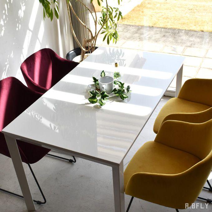 ダイニングテーブル 鏡面 130cm ホワイト 白 シンプル モダン 北欧 4人掛け 4人 食卓テーブル カフェテーブル 光沢 家具 コーヒー 鏡面仕上げ スチール 長方形