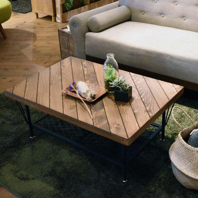 棚付きセンターテーブル 幅90cm ローテーブル ヴィンテージ インダストリアル 工業 リビング カフェ 食卓 木製 黒スチール パイン 無垢材 アメリカン