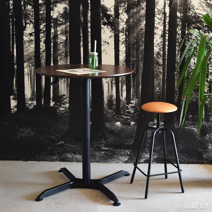 円形 昇降テーブル 丸型 リフティングテーブル リフトテーブル リビングダイニングテーブル バーテーブル カフェ ラウンジ スタンディング ラウンド スチール脚 ガス圧 木製 北欧 西海岸 ウォールナット 高さ65~100cm